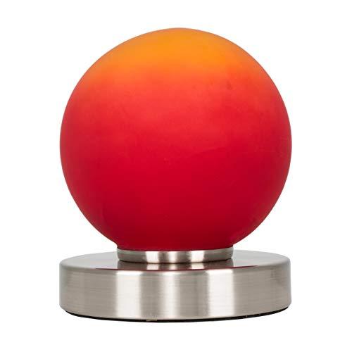 MiniSun Lampe à Poser Tactile. Variateur Touche Intégré.'Flamme' Contemporain en Nickel avec Verrerie Orange vers Rouge
