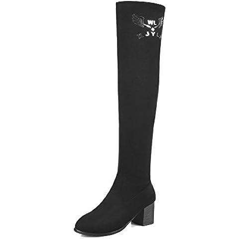 VogueZone009 Donna Tacco Medio Plastica Alta Altezza Tirare (I Migliori Donne Di Inverno Boots)