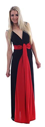 New Womens Plus Size Grecian Knot Contrast Color Panel Soft Long Maxi Dress ( Red , UK 16-18 / EU 44-46 (Size Grecian Kleid Plus)