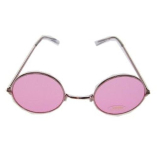Flower Power Brille in pink mit UV - Schutz 400
