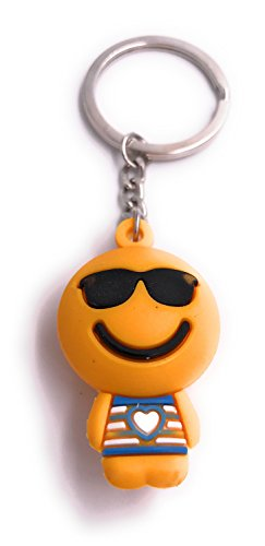 H-Customs Orange Figur mit Sonnenbrille freuend Schlüsselanhänger Anhänger