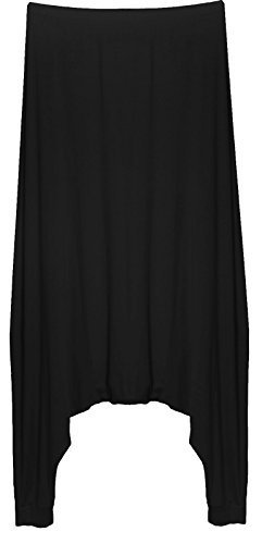 RE Tech UK Damen Drop Low Schritt Haremshose Hosen baggy alibaba Lagenlook Schwarz