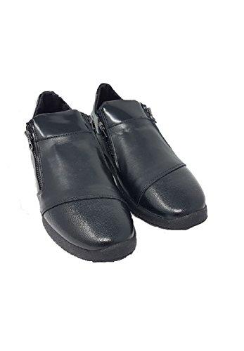 La Ultima Sneakers Bassa bi Zip Pelle Nero