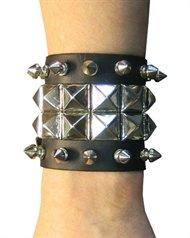 Stud Wristband - 2 row PYRAMID & 2 ROW SPIKE