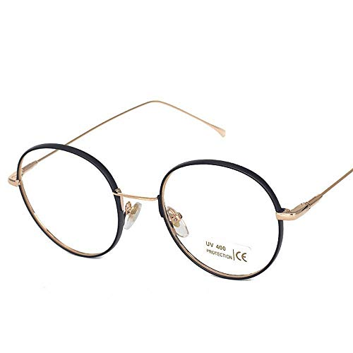 WULE-RYP Polarisierte Sonnenbrille mit UV-Schutz Metallrunde Rahmen College Wind Flat Mirror klare Gläser. Superleichtes Rahmen-Fischen, das Golf fährt (Farbe : A)