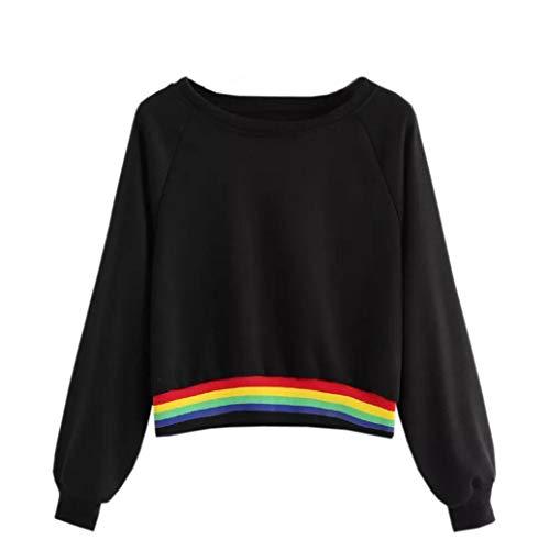 (TWIFER Pullover Damen Langarm Rainbow Patchwork O Hals Sweatshirt Beiläufige Bluse)