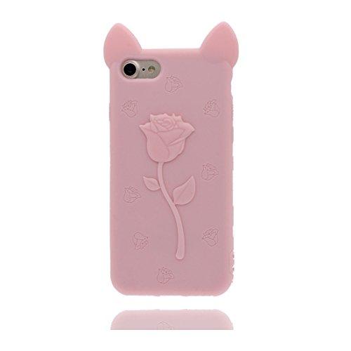 "iPhone 7 Handyhülle, iPhone 7 Hülle Cover [3D Cartoon Hase Stripe Cute] Gel-Shell TPU flexibles Shell iPhone 7 case 4.7"" Staub Kratzer beständig und Touchstift Pink"