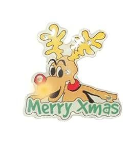 Merry Christmas Reindeer Flashing Badge - Single