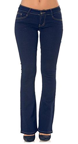 Simply Chic Vaqueros bootcut azul lavado para mujer pantalones jeans elásticos talla 38