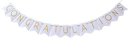 ongratulations Party Girlande Gold - Glückwunsch Banner, Schimmernde Goldene Buchstaben auf weißer Girlande ()