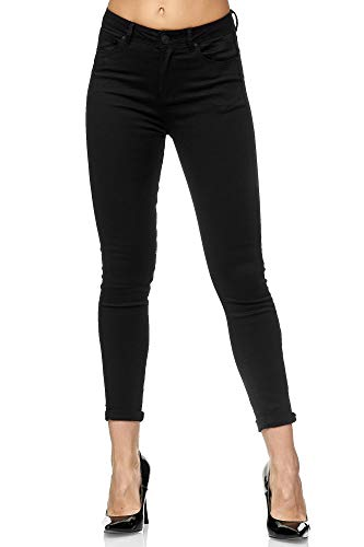 Elara Damen Stretch Hose | Butt Lift Effekt | Skinny Push Up Jeans | Elastischer Bund | Slim Fit | Chunkyrayan XM6008-1 Black 38