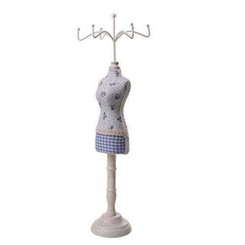 Generic Female Mannequin Cheongsam Dress Display Jewelry Bracelet Necklace Stand Holder Blue Grid