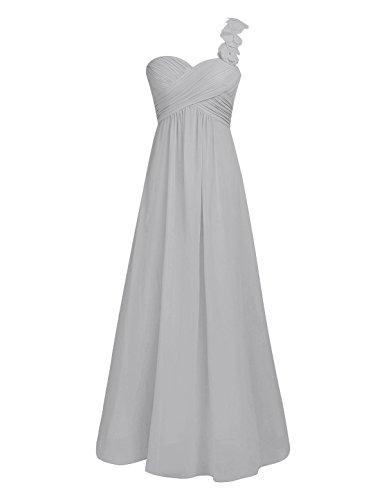iiniim Damen Elegant Cocktailkleid Festliches Ein-Schulter Brautjungferkleid Hochzeit Kleid Chiffon Faltenrock Langes Abendkleid Partykleid Festzug Grau