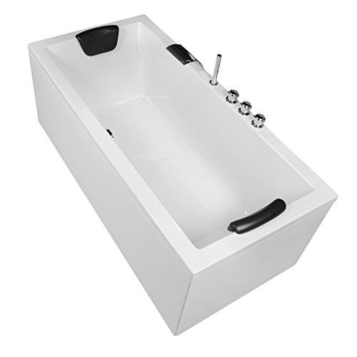 AQUADE Badewanne Komplett-Set inkl. Unterbau Ab-Überlauf und Schürzen-Set 180x80 cm Modell: Neu-Ulm + Armatur mit Wasserfall im Wannenrand + Nackenkissen