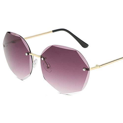 Neue Ocean-Piece Sonnenbrille Diamantausschnitt dünne Sonnenbrille Damen rahmenlose Metallgitter rote Brille Großhandel