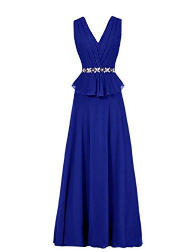Dresstells, Robe de soirée Robe de cérémonie longueur ras du sol col en V sans manches Bleu Saphir