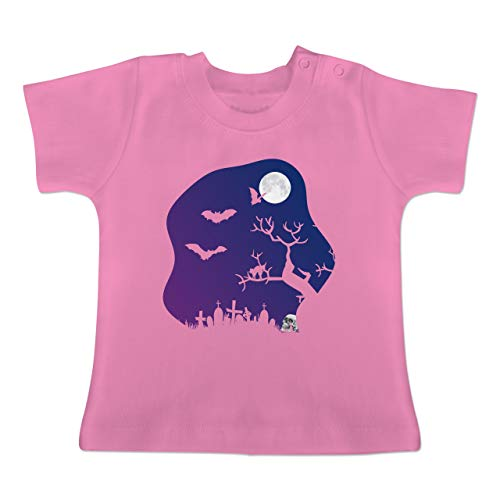 Girl Friedhof Kostüm - Halloween Baby - Friedhof gruselig Totenkopf Mond - 12-18 Monate - Pink - BZ02 - Baby T-Shirt Kurzarm