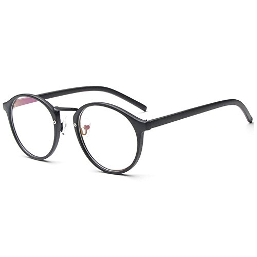Forepin Nerdbrille Retro Rund Unisex reg; Dekogläser Klassisches Mode Damen/Herren Brillen - Matt...