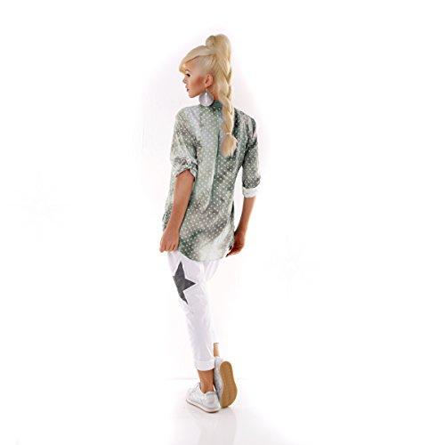 Damen Bluse Italy Moda Tunika Leinen Bluse Fischerhemd Dots Sequin Grün
