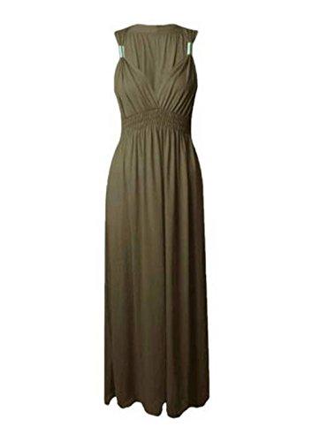 Sans manches pour femme Matière Stretch Uni ressort Maxi robe évasé en Jersey Vert - Kaki