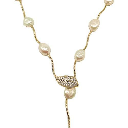 Rolicia Single String Süßwasser Zuchtperlen Halskette Geschenkbox (Gold White)