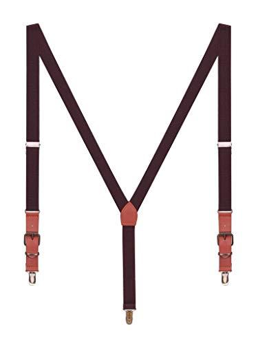 Classic Retro PU Leder 3 Anti-Rost Clips Y Form 2,5cm Hosenträger Elastisch für Körpergröße 140-190cm - Dunkelbraun ()