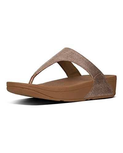 FitFlop Damen Shimmy Toe-Thong Sandals-FOIL Print Suede Plateausandalen, braun (Tan, 41 EU -