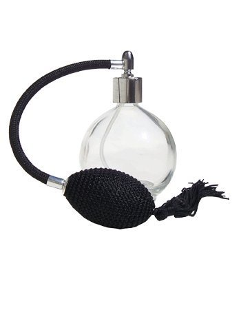 Noir Rond Vide Parfum Rechargeable Verre Bouteille spray atomiseur, 78ml, avec Black Tassel Pulvérisateur et Fitting Argent. Entonnoir compris