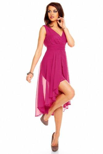 Robe de cocktail pour femme en chiffon courte à l'avant à l'arrière) Rose - Rose bonbon