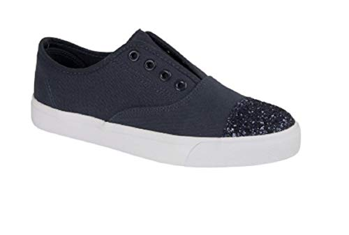 GladRags Ladies Womens Girls Canvas Elasticated Gusset Slip On Trainers Pumps with Sparkly Toe Cap Summer Shoe Size UK 3 4 5 6 7 8