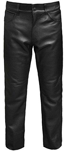 Skintan Herren Motorrad Lederhose Klassische Leder Jeanshosen Biker Jeans Schwarz - L34 W42 - 5-pocket-leder-jeans