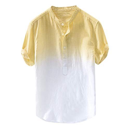 Leinenhemd Herren Kurzarm Hemd,Sommer Herren cool und dünn atmungsaktiv Kragen hängen gefärbt Farbverlauf Baumwollhemd,Herren Sommerhemd Hemd Blusen Oberteil Tunika Bluse