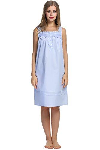 HOTOUCH Damen Kleid Nachthemd Ärmellos Nachtkleid Solide Lose Schlafanzüge Nachtwäsche Pyjamas Lang Dessous Baumwolle Typ1-Hellblau