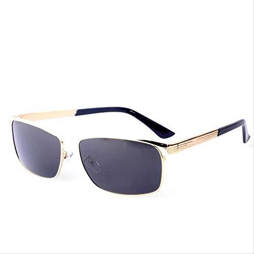 LKVNHP Neue Hochwertige Polarisierte Sonnenbrille Männer Markendesigner Sonnenbrille Für Mann Breites Gesicht Schutzbrille Uv400 Blend MännlichenGold