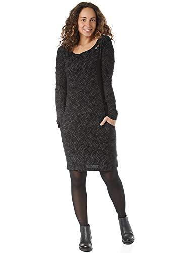Ragwear River Damen,Kleid,Jerseykleid,Shirtkleid,Langarm,vegan,Rundhalsausschnitt,Allover Print,Black,M