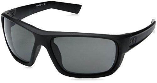 Under Armour Men's Ua Launch Round Sunglasses, Satin Black Frame / Gray Lens, 64 mm