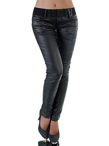 P124 Damen Jeans Hose Lederimitat Damenjeans Lederlook Röhrenjeans Leder-Optik, Farben:Schwarz, Größen:38 (M)