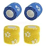 12 stück Pfotendruck 6 x Blauer-- 6 x Gelb Hundeverband selbsthaftende Haft bandage 5cm x 450cm Pfoten Verband