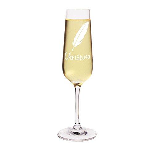 printplanet® Sektglas mit Namen Christina graviert - Leonardo® Glas mit Gravur - Design Feder