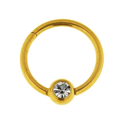 Gold eloxiert 16 Gauge - 7MM Durchmesser 316L Chirurgenstahl Clicker klappbar Bead Ring mit Crystal Stone Piercing Schmuck