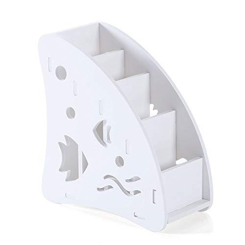 JIAJU Weiß Fernbedienung Halter Caddy, 4 Fächer Carving Abnehmbare Desktop Organizer Holz Stift Bleistift Halter Container für Schreibtisch Schlafzimmer Make-up (Desktop-bleistift-organizer)
