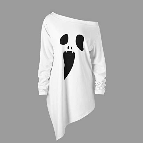 serliy Frauen Halloween Langarm Geist Print Sweatshirt Pullover Tops Bluse Sweatshirt Stehkragen Gestreift Printed Hem Bluse Frauen Damen Longsleeves Unterziehshirt Damen günstig