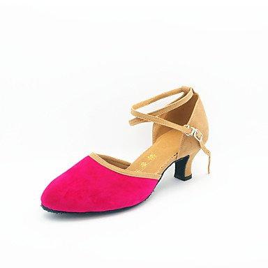 Silence @ Chaussures de danse pour femme moderne en daim Talon cubain Noir/bleu/marron/vert/rose fuchsia