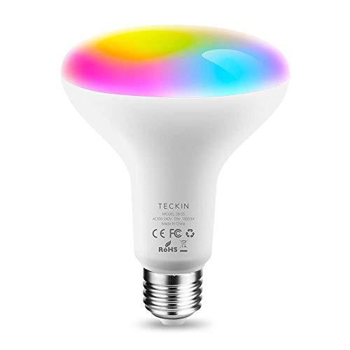 TECKIN Bombilla inteligente LED WiFi ajustable y lámpara multicolor Funciona con Alexa,E27 100W Echo,Google Home y IFTTT,RGB equivalente 13W bombilla de cambio de color,1 paquete