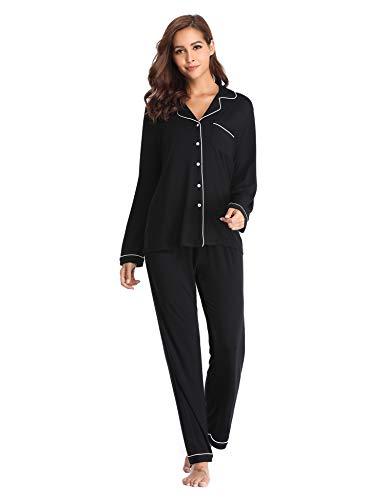 Lusofie Pyjama für Damen Langarm Schlafanzug mit Knopfleiste Nachtwäsche PJ Set (373 Schwarz, XL)