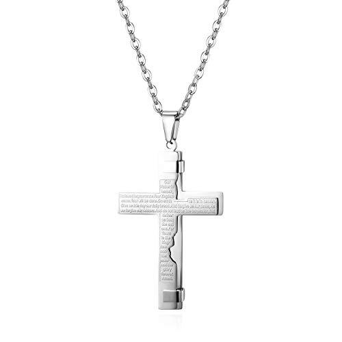 JewelryWe Herren Halskette, Edelstahl Englisch Bibel Gebet Kreuz Anhänger mit 55cm Kette, Silber, Ostern Geschenk