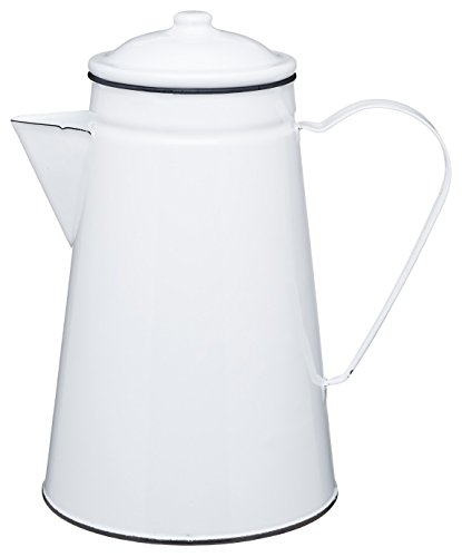 Kitchen Craft Kaffeekanne Living Nostalgia aus Emaille, 1,5 l (2,5 PTS) – Weiß/Grau