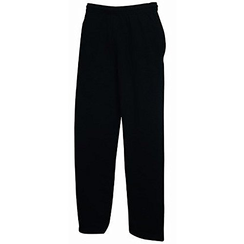 Fruit of the Loom - Pantaloni della tuta modello Open Hem con aperta basso uomo gentiluomo (grande (L)/negro)