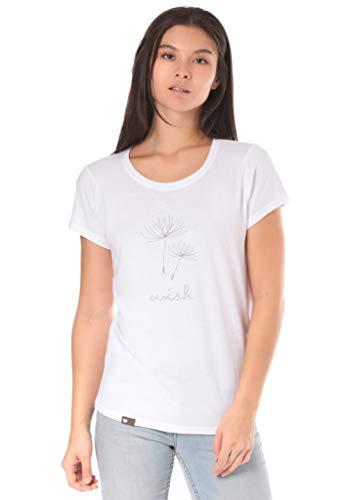 Lakeville Mountain Damen T-Shirt Arusha mit Puste-Blumen Aufdruck | Tailliertes Kurzarm Oberteil mit Rundhals-Ausschnitt | Frauen Sommer Print Bluse Tunika Tops | Sexy, Cool | Schwarz, Größe S