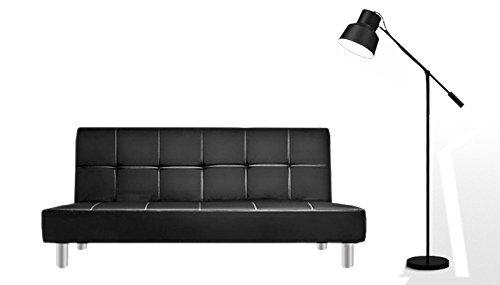 Bagno italia divano letto 3 posti 180x80 ecopelle nero stile moderno recrinabile da soggiorno divani